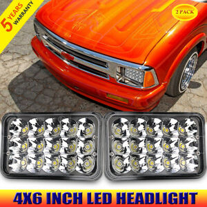 Pair 4x6 Inch Square Led Headlight For Chevrolet S10 1995 1996 1997 Monza 1977