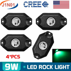 4x Led Rock Light Green Fender Underbody Lights Trailer Offroad Truck Utv Boat