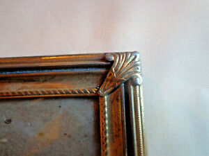 Vtg Gold Metal Picture Frame 8x10 Photo Fancy Corners Ribbed Embossed Victorian