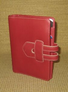 Pocket Franklin Covey unused Hpov Red Leather 1 Rings Open Planner binder