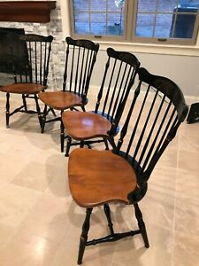 L Hitchcock Vintage Painted Stenciled Circa 1990 Side Chairs Set Of 4