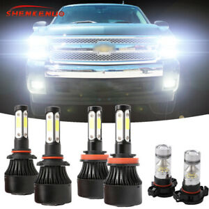 6x 6000k Led Headlight Hi lo Fog Bulbs For Chevy Silverado 1500 2500 2007 2015