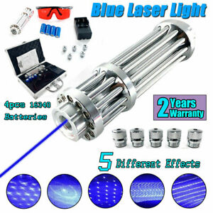 New Blue Visible Beam Light Laser Pointer W 4 16340 Batteries box Us