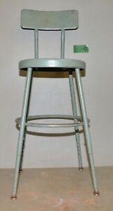 Vintage Industrial Metal Drafting Stool Adjustable Factory Shop Chair Early C3