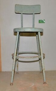 Vintage Industrial Metal Drafting Stool Adjustable Factory Shop Chair Early C1
