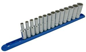 14 Piece 3 8in Drive 12 Point Metric Deep Socket Set With Storage Rail 6mm 19mm