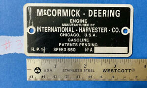 Mccormick deering Reproduction Tag Name Plate 1 1 2 Hp Ihc Tractor Hit Miss