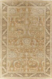 Antique Muted Oushak Floral Turkish Area Rug Vegetable Dye Hand Knotted 9x12