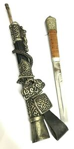 Antique Ancient Chinese Dagger Rare Sleeve Cuff Knife 150 Years With Chopsticks