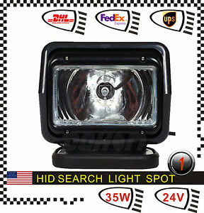 H3 35w Hid Xenon Search Work Light Remote Magnetic Wireless Boat Truck 24v Spot