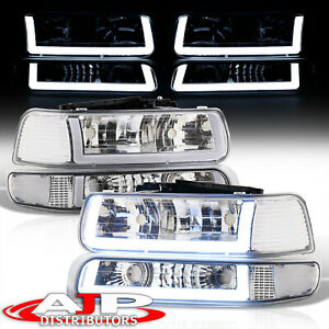 Chrom Clear Corner Led Drl Bumper Head Lights Lamp Lh rh For 1999 2002 Silverado