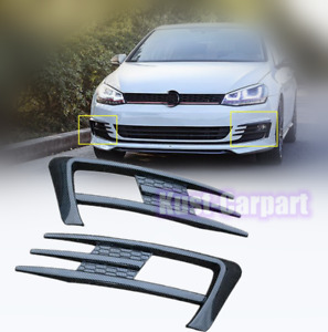 Carbon Style Front Fog Lamp Eyebrow Frame Trim 2pcs For Vw Golf Mk7 2015 2017