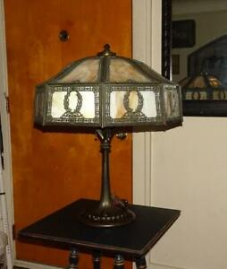 Vtg Wilkinson 377 Table Lamp W Shade Antique Slag Glass Lamp Original Finish