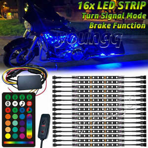 16x Motorcycle Led Light Upgrade Remote Control Glow Body Neon Strip For Honda