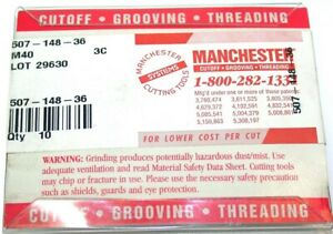Lot Of 10 New Manchester Grooving Cut off Carbide Inserts 507 148 36 M40