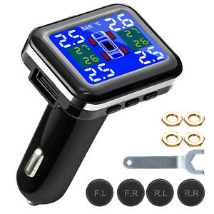 Wireless Car Tpms Tire Pressure Monitoring System Lcd 4 External Sensors