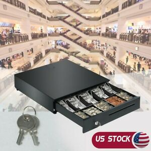 Cash Drawer Box 5 Bill And 5 Coin Tray Heavy Duty Compact Black Ship Now