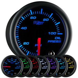 New 52mm Glowshift Black 7 Color Electronic Oil Pressure Psi Gauge Meter