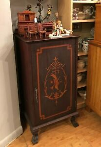 Antique Victrola Phonograph Stand Record Music Cabinet Mahogany Inlaid Wood
