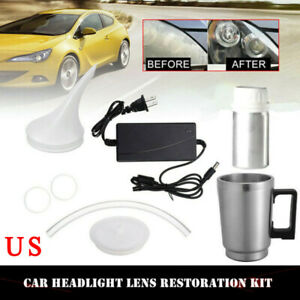 Car Headlight Lens Repair Restoration Kit Atomized Cup With Adapter 12v