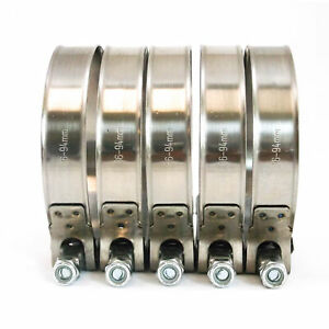 5 Premium 304 Stainless Steel T Bolt Turbo Silicone Hose Clamp 3 5 86 94mm