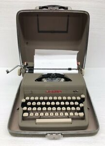 Vintage 50s Royal Quiet Deluxe Portable Typewriter W Case Working Needs Cleaned