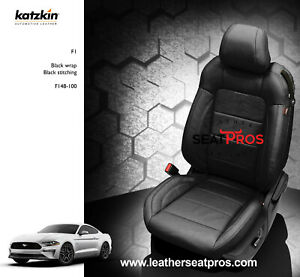 Katzkin Leather Seat Covers Kit 2015 2020 Ford Mustang Coupe Convertible Black