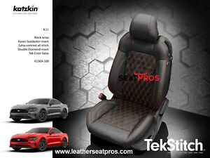 Katzkin Leather Seat Covers 15 20 Ford Mustang Coupe Convertible Black Suede Tek