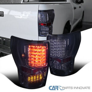 For 07 13 Toyota Tundra Smoke Led Tail Lights Tinted Rear Brake Lamps Left Right