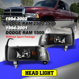 Headlights For 94 01 Dodge Ram 1500 2500 3500 Replacement Assembly Black Clear