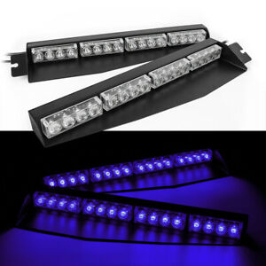 Usa Blue 34 32 Led Car Emergency Warning Visor Split Deck Strobe Light Bar