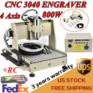 4 Axis 3040 Cnc Vfd Router Engraver 800w Drilling Machine Woodworking Handwheel