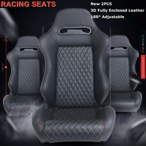 2pcs Universal Car Racing Seats W 2 Sliders Black 3d Leather Recline Bucket Seat