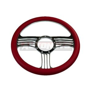 14 Red Leather Billet Chrome Aluminum 9 Hole Steering Wheel 9 Hole Street Rod