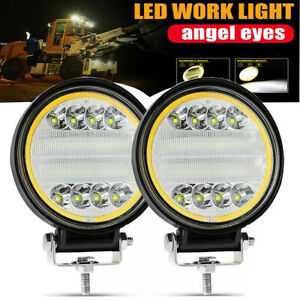 Pair 5 Inch 420w Round Led Work Light Spot Flood Driving Fog Amber Lamp Offroad