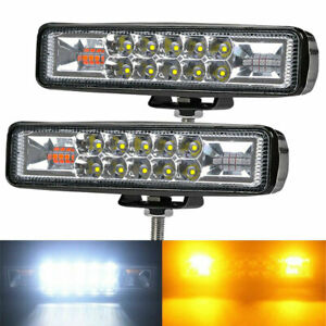 2x Car Amber Led Strobe Flash Work Light Bar Warning Emergency For Offroad Jeep