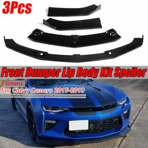 3pcs Gloss Black Front Bumper Lip Spoiler Splitter For Chevy Camaro 2015 2018