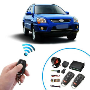 Car Alarm Protection Security 1 Way Burglar Keyless Entry Siren 2 Remote Control
