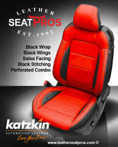 Katzkin Leather Seat Covers 15 20 Ford Mustang Coupe Convertible Black Salsa Red