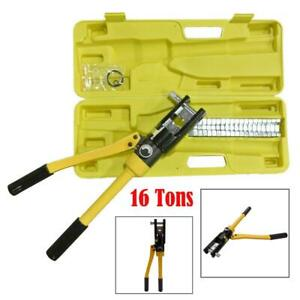16 Ton Hydraulic Wire Cable 18 Crimper Kit Crimp Plier Crimping Yellow Box