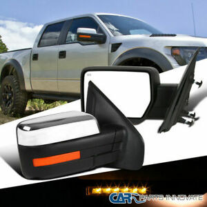 For 07 14 Ford F150 Power Heat Chrome Side Mirrors W Led Signal Puddle Pair