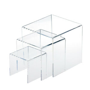 Set Of 3 3 4 5 Acrylic Risers Display Stands Showcase For Jewelry