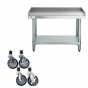 24 X 36 Heavy Equipment Stand W Casters Stainless Steel Work Table Commercial