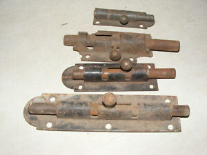 Lot Of 4 Vintage Barrel Bolt Slide Bolt Door Lock Windows Cellar Gates Cabinets