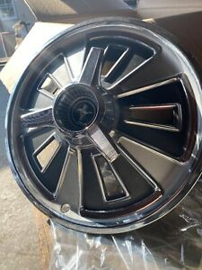 Ford Mustang 1966 Vintage 14 Hubcaps With Spinner Wheel Cover Black Center Cap