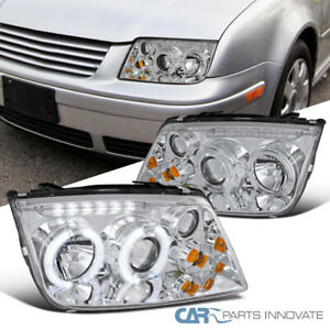 Fit 99 05 Jetta Bora Mk4 Led Halo Clear Projector Headlights Head Lamps W Fog