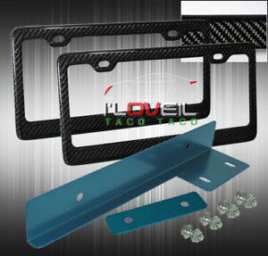 Carbon Fiber 2x License Plate Tag Frame Jdm Front Mount Relocate Anodized Blue