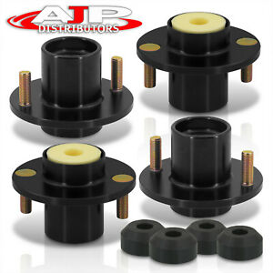 For 88 00 Honda Civic 4pc Aluminum Top Hat Extender Coilover Shock Mount Black