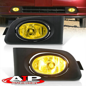 Amber Driving Bumper Fog Lights Lamps Wiring Switch For 2001 2003 Honda Civic