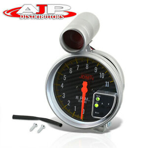Universal 5 Carbon Fiber Face Tachometer 11k Rpm Tach Gauge W Red Shift Light